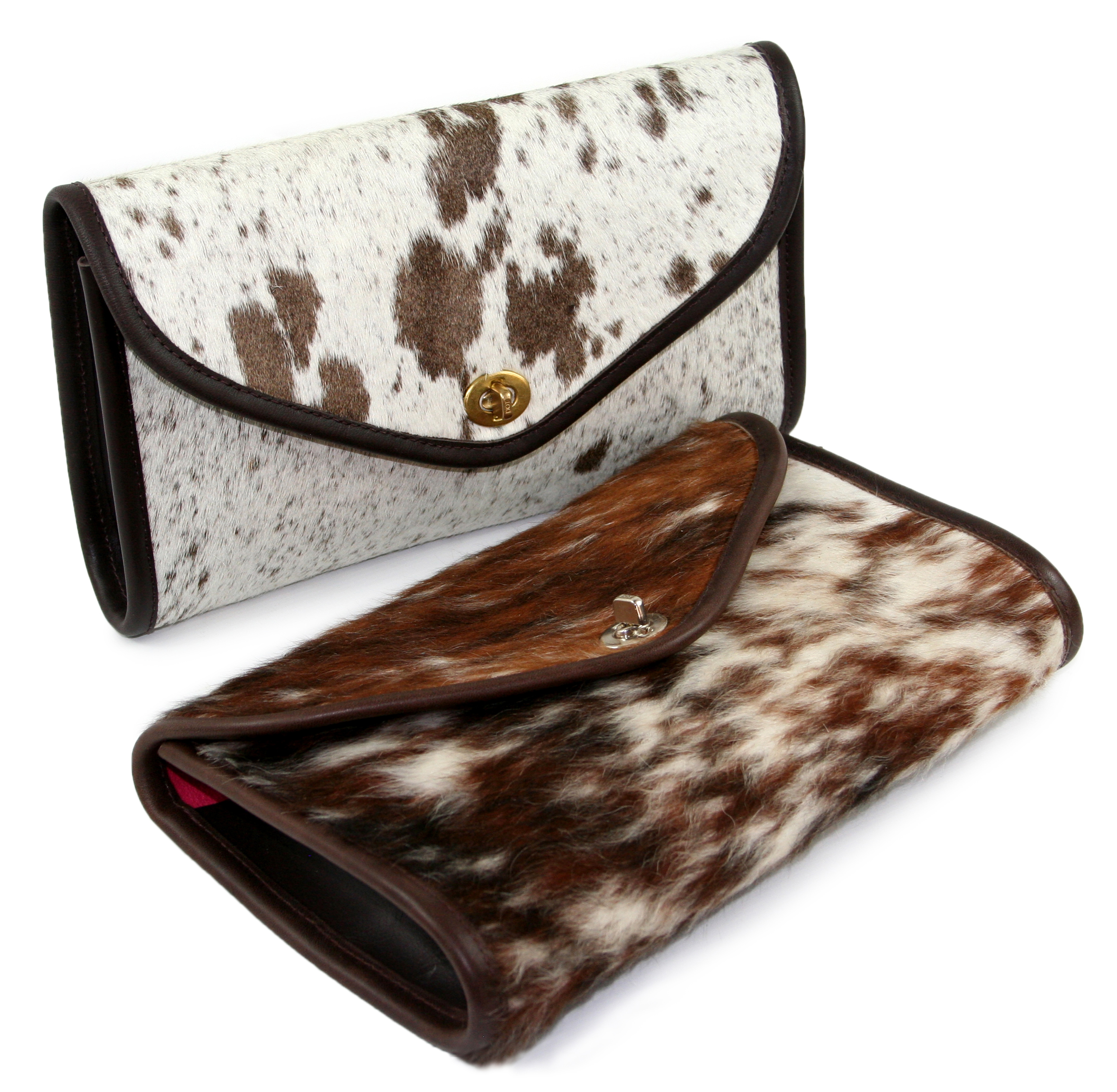 Flap Over Cow Hair Clutch with Turn Catch